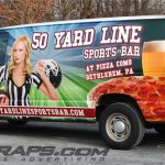 Pizza Como 50 Yard Line Sports Bar Ford E250 Full 3M Vinyl Graphic Wrap