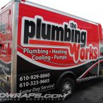 Plumbing Works 10ft E350 Cutaway Cube Van 3M Vinyl Graphic Wrap for Plumber