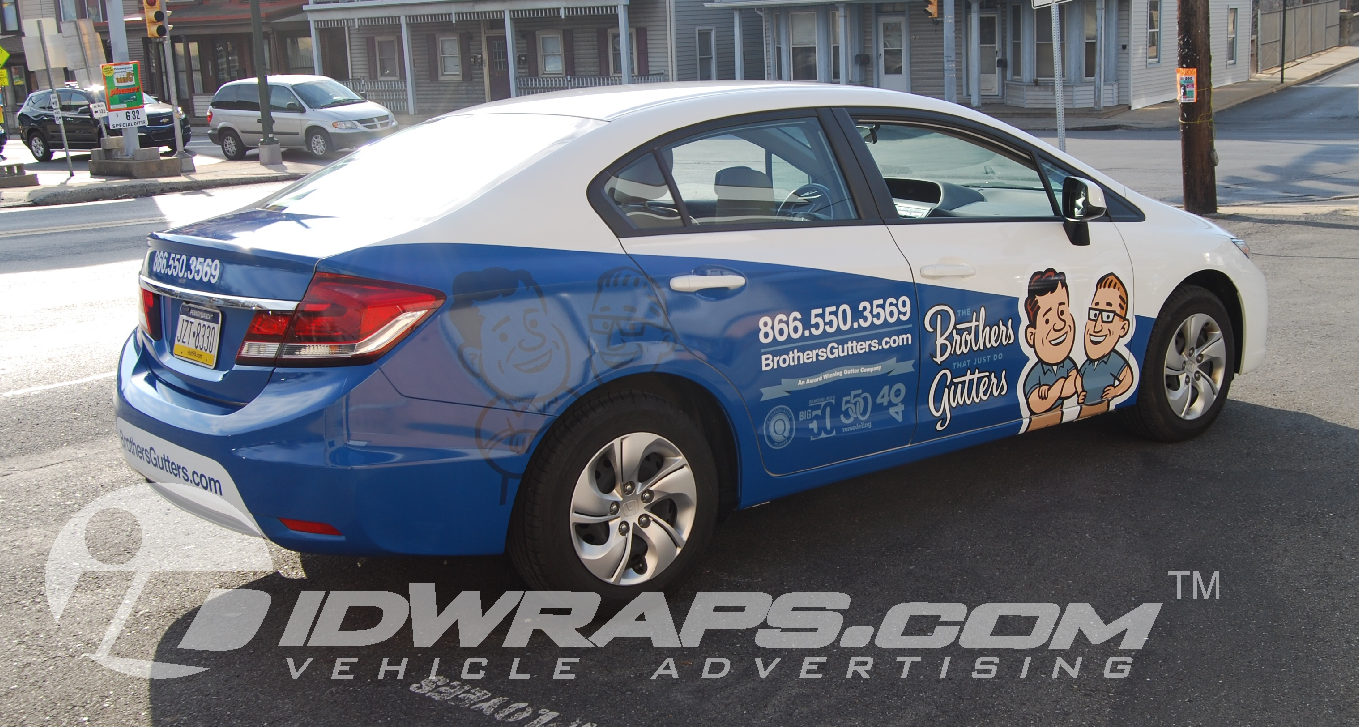 Gutter Company Wrap On Honda Civic 3M Vinyl Partial Graphic