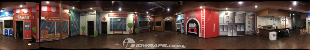 graphic wall mural for kids facility panoramic photo