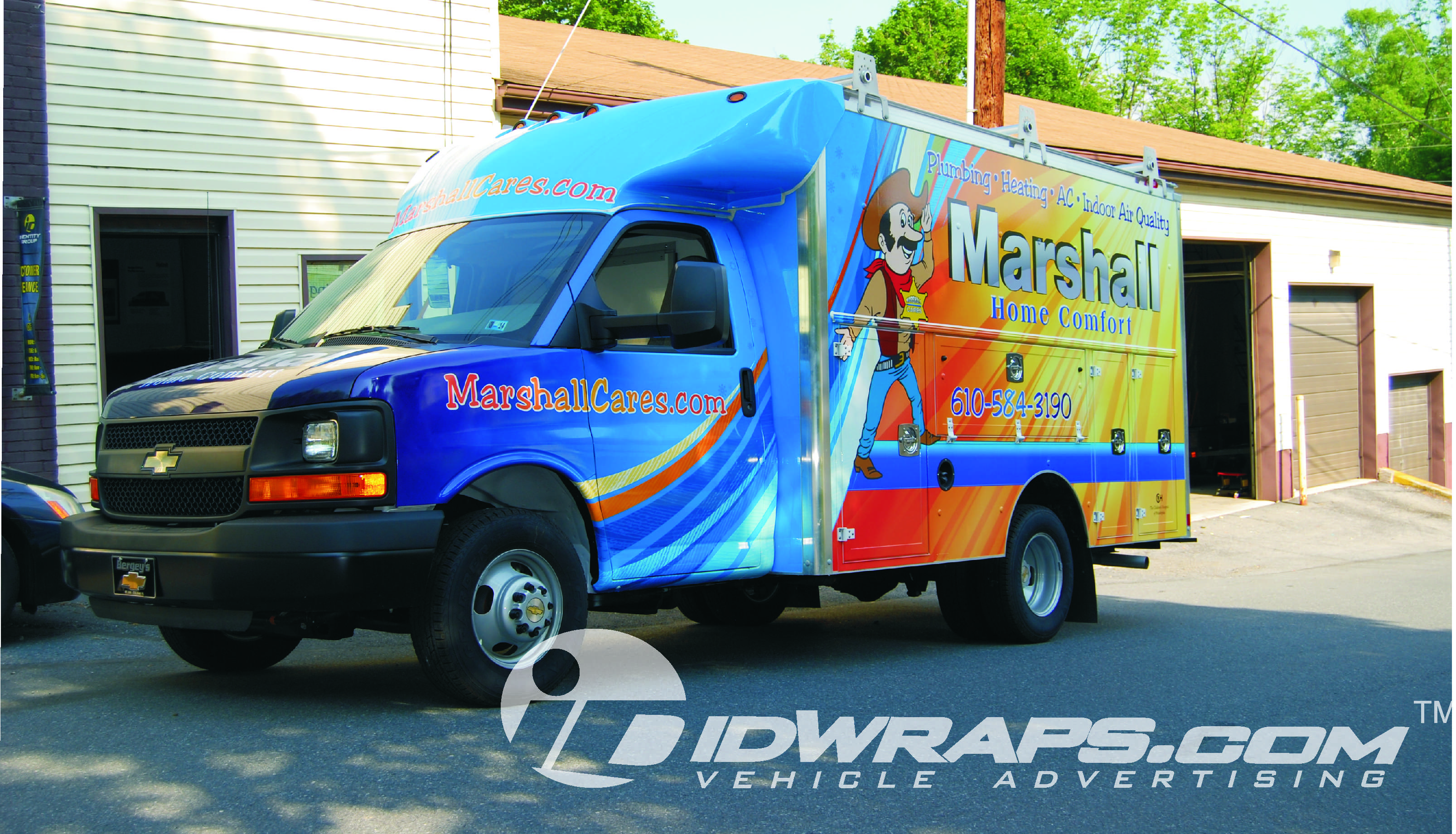 Marshall HVAC Chevy Spartan Cutaway Utility 3M Vinyl Van Wrap Advertising