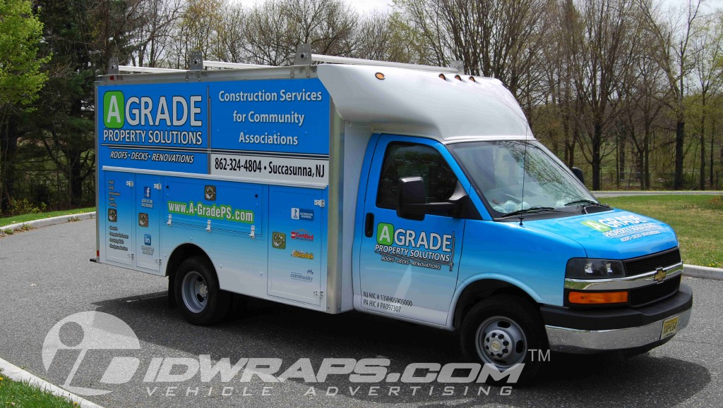 A Grade Property Solutions 12ft Chevy Savannah Utility Cube Van Wrap 3M Vinyl Wrap NJ Contractor