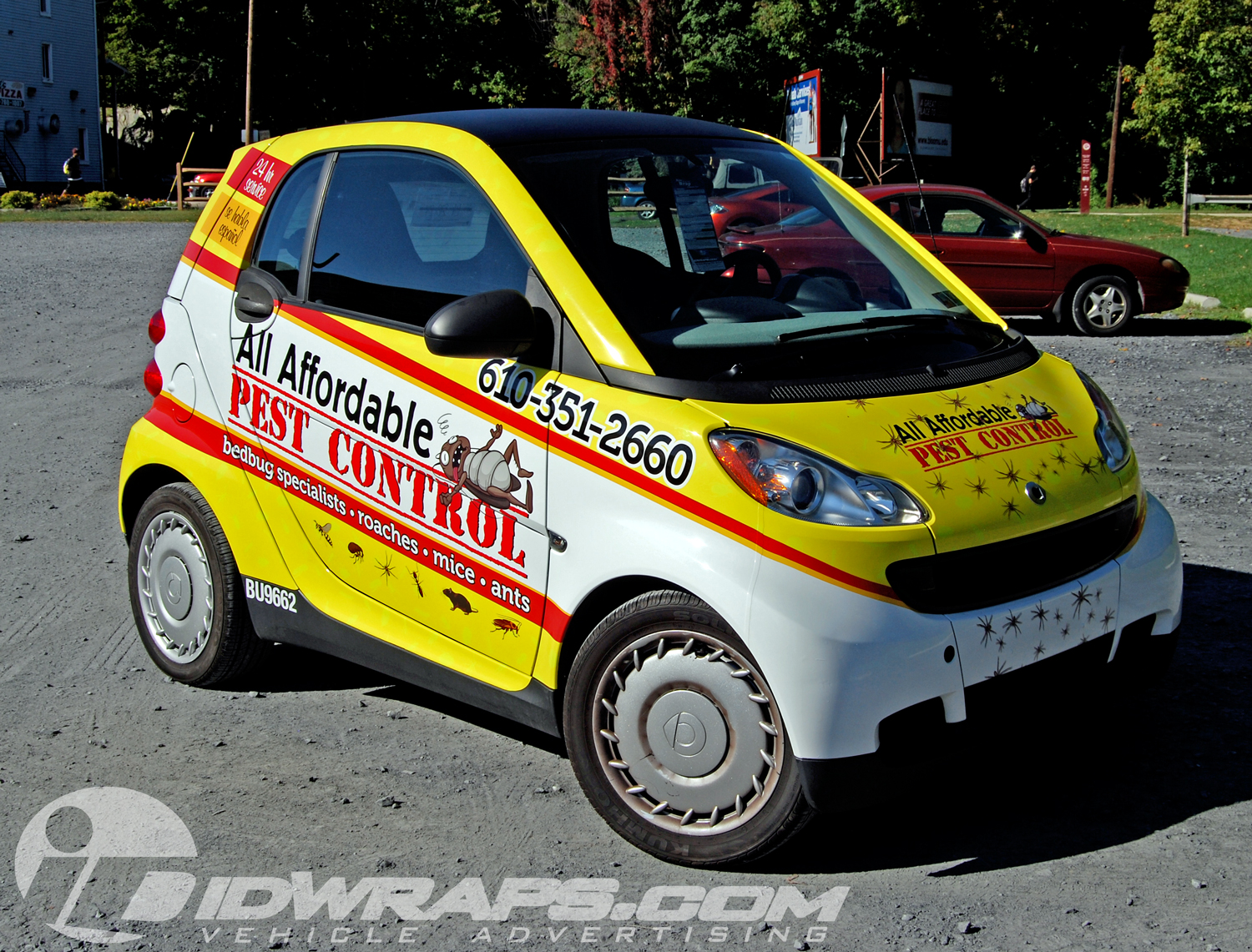 All Affordable Pest Control Smart Car 3M Yellow Vinyl Vehicle Wrap in PA