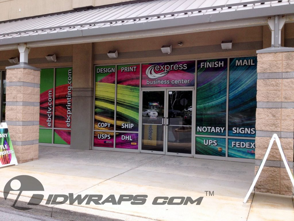 Express Business Center Retail Window Wrap Graphics View Trough