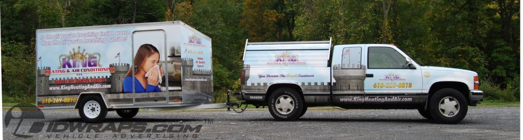 King Heating and Air Conditioning HVAC Truck Wrap and V Nose Cargo Trailer Duct Cleaning 3M Vinyl Wrap