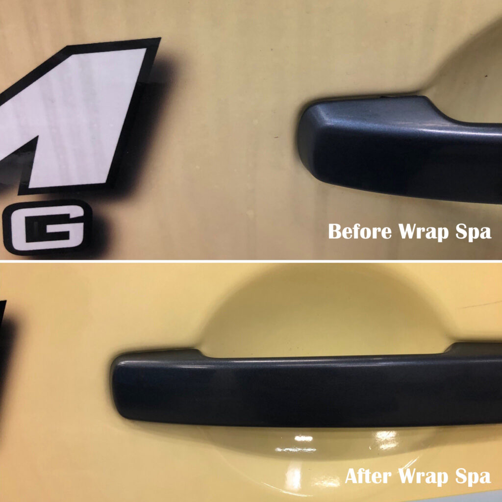 Pictures of a vehicle before and after our wrap spa treatment.