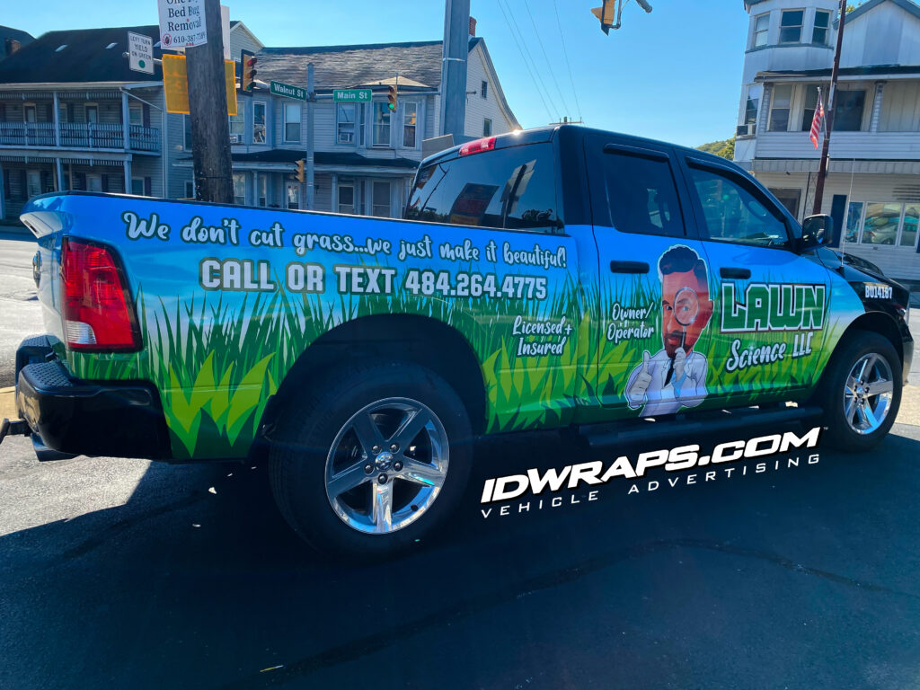 Lawn Science's logo is very artistic, so we made sure to draw attention to his company name in the typographic hierarchy of the wrap design.