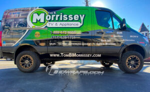 Tom Morrissey features their industry in their logo, and uses a subdued service list that discusses their specialty.